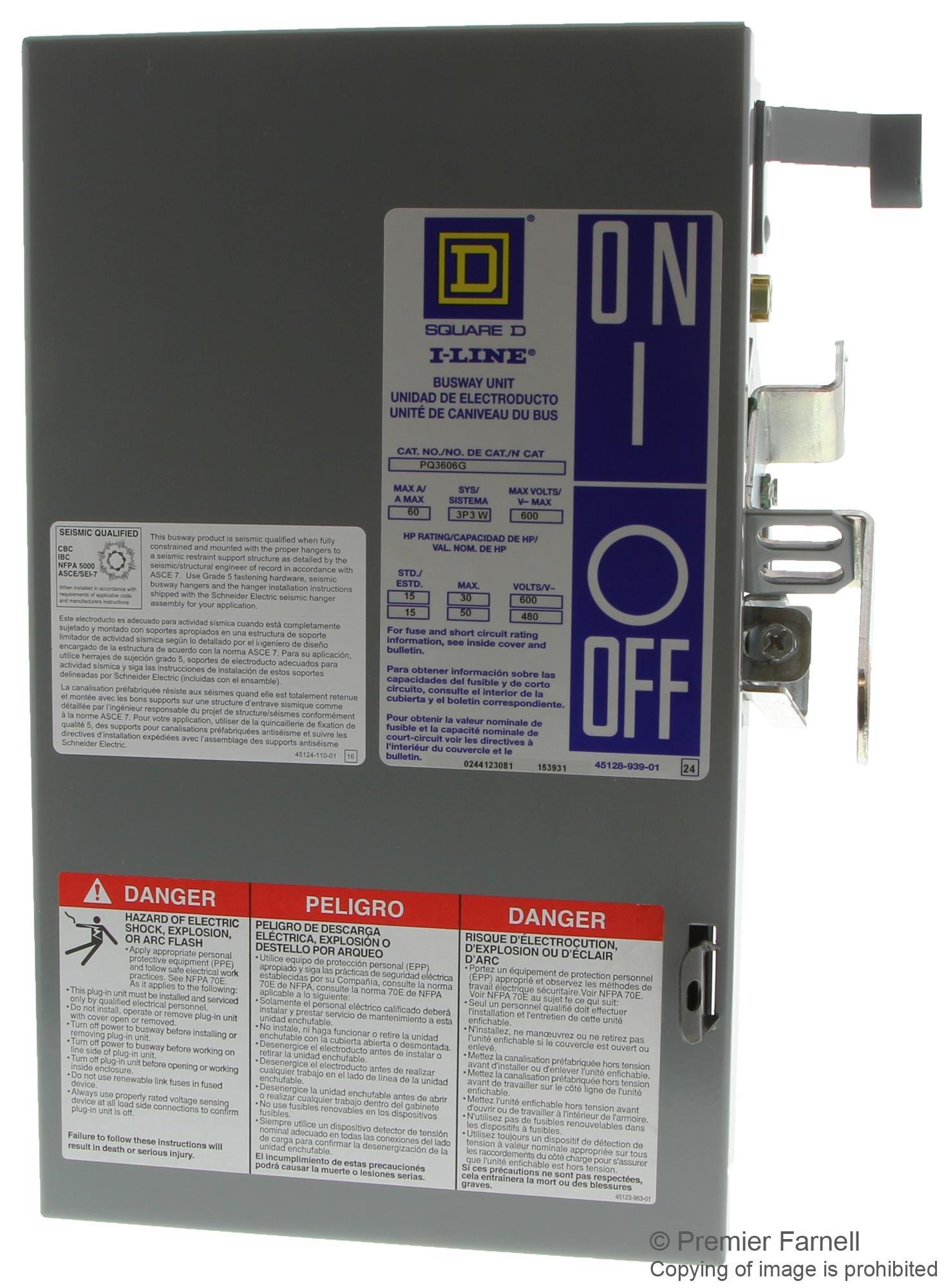 SQUARE D PQ3606G I-LINE PLUG 60A AMP 600V-AC FUSIBLE DISCONNECT SWITCH B492921