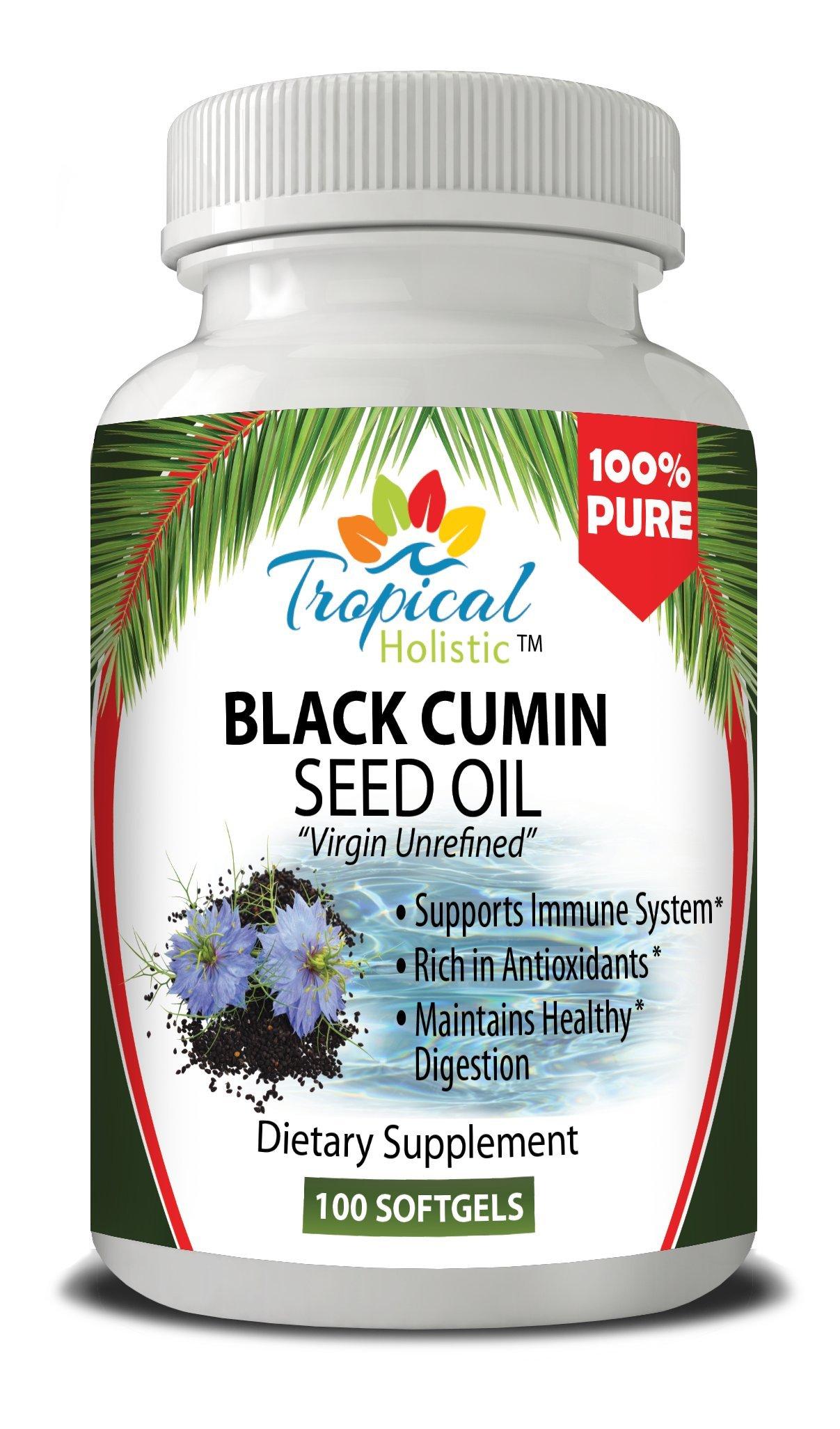 Premium Black Cumin Seed Oil SoftGel Capsules, 100 Count, (1000mg per Serving) - 100% Pure Unrefined Virgin Cold Pressed - Tropical Holistic