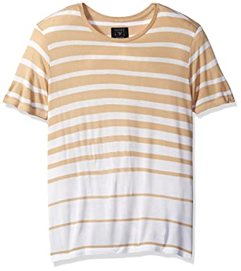 7c564c7aee3c GUESS Men's Max Variegated Stripe T-Shirt, Curds/Amp; Whey Multi XXL