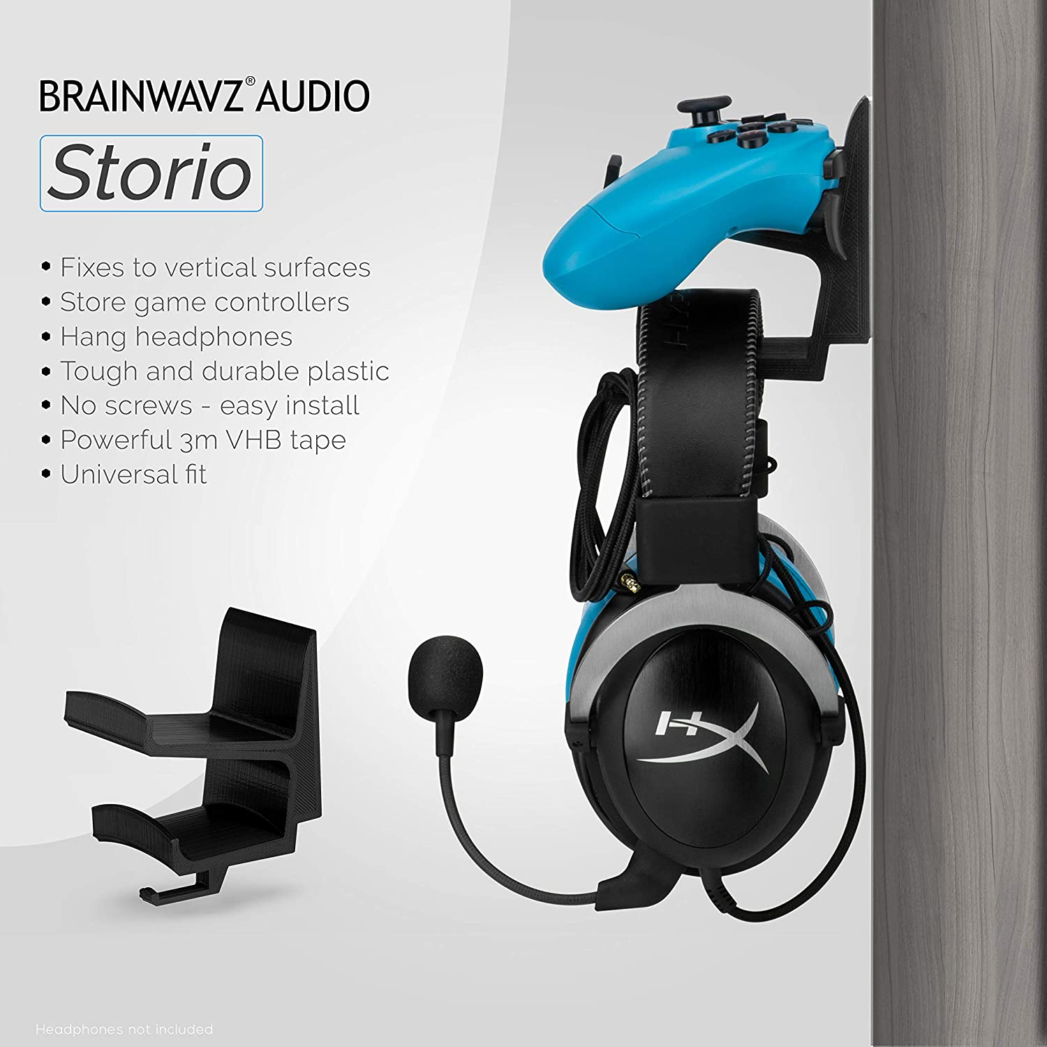 Gamepad Controller /& Headphone Hanger Holder Stand Steelseries Steam /& More Black by Brainwavz PS5 PC Dualshock Designed for Xbox ONE Switch PS3 PS4 The STORIO