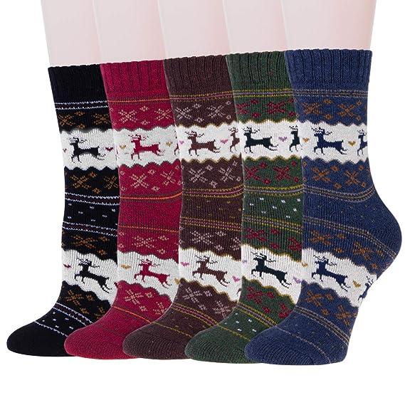 Sternen-Muster 6 Paar THERMOSOCKEN warme Strümpfe Wintersocken für Frauen