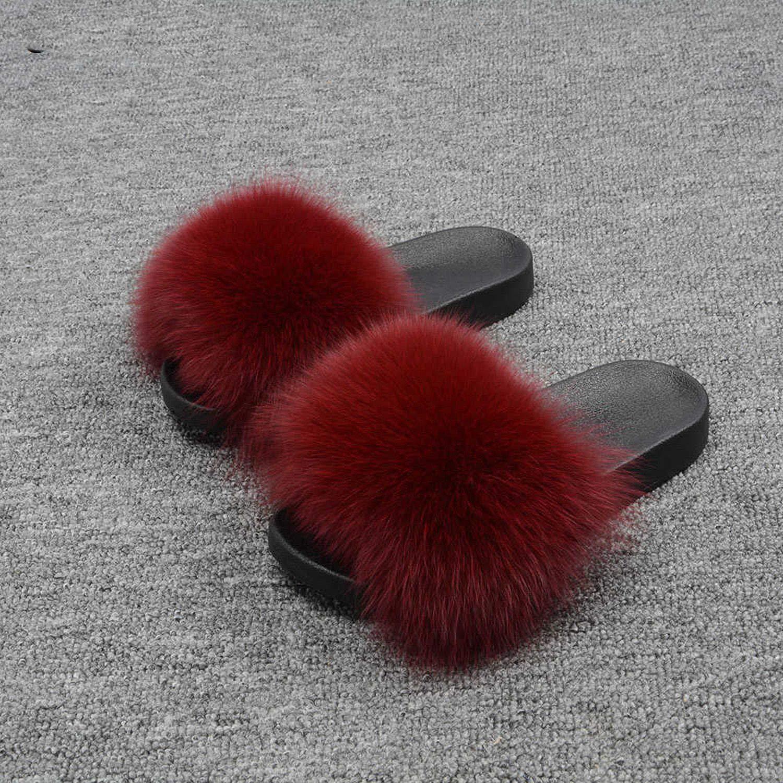 Wine Red Blingbling-honored High end Real Fox Fur Slipper Women Slides Sliders Fashion Spring Summer Autumn Fluffy Fur Lady S6018