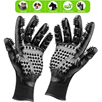 Petteasey Pet Grooming Gloves W/ Soft Rounded Nubs & Adjustable Wrist Strap