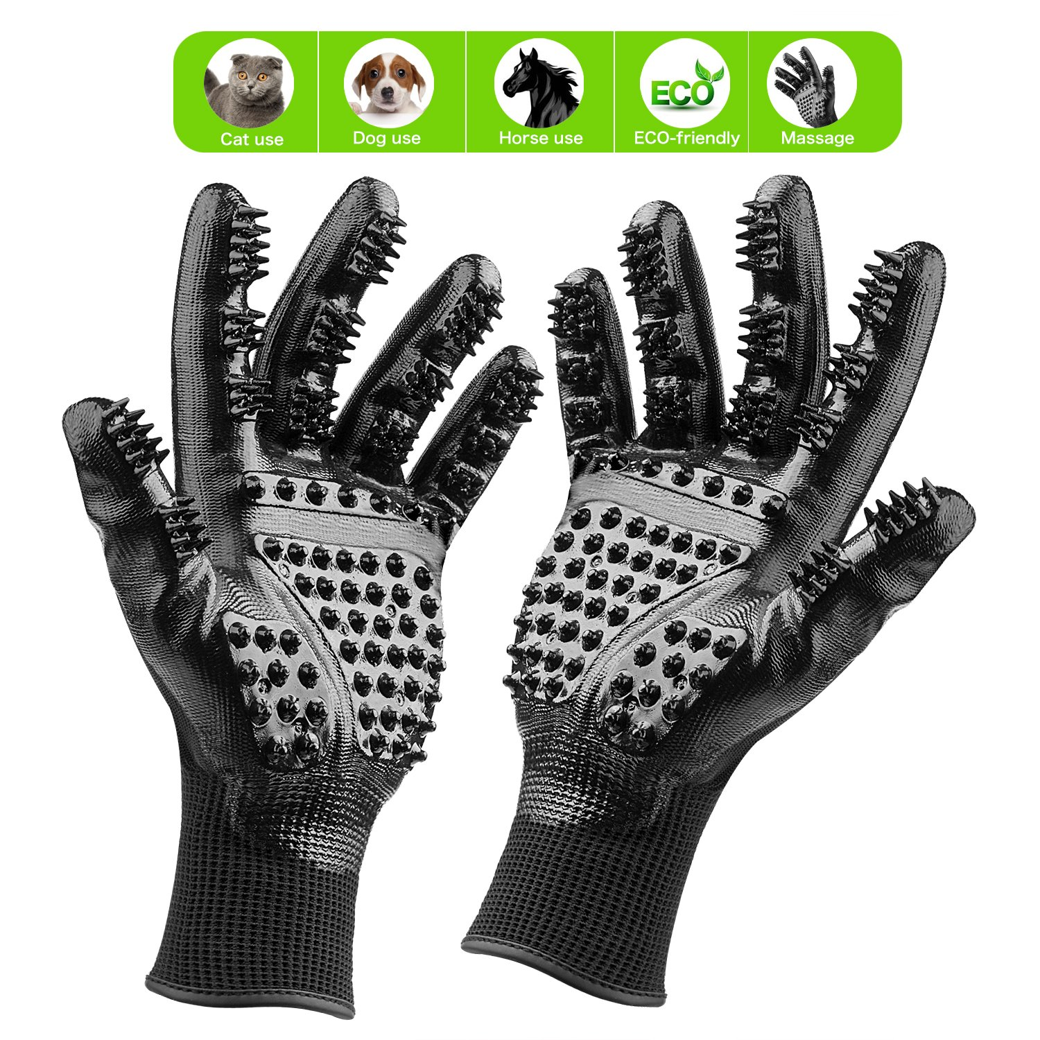 Pet Grooming Glove: Cat, Horse & Dog Deshedding Gloves With Soft Rounded Nubs & Adjustable Wrist Strap – Pair Of Flexible Brush Mitts For Shedding, Bathing, Massaging & Hair Removal (black)
