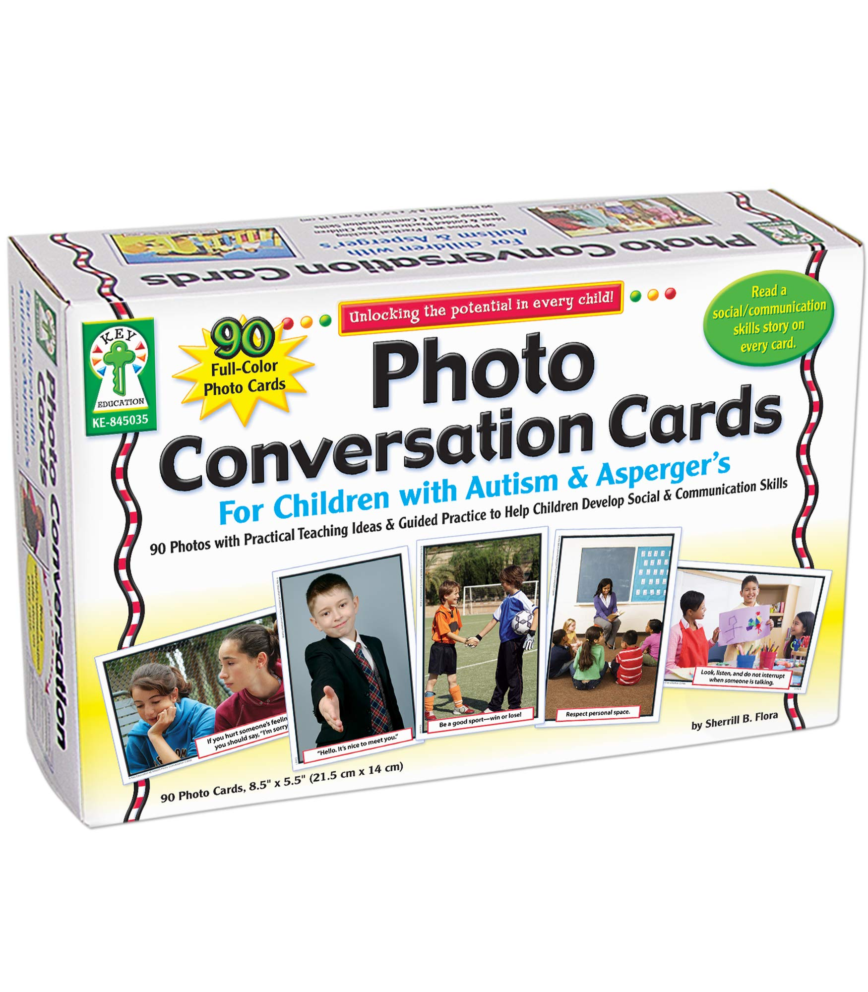 Key Education Photo Conversation Cards— Grades K-5 Social, Emotional, Behavioral, Communication Skills Flashcards For Children With Autism and Asperger's (90 pc)