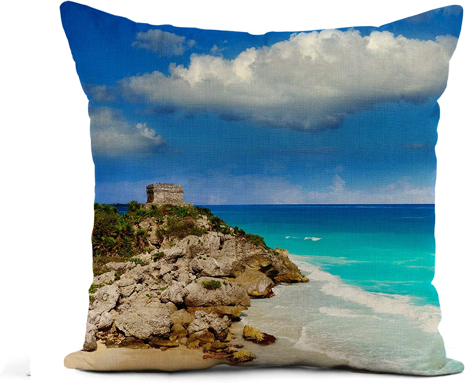 Awowee Flax Throw Pillow Cover Tulum Mayan City Ruins in Riviera Maya at The 16x16 Inches Pillowcase Home Decor Square Cotton Linen Pillow Case Cushion Cover