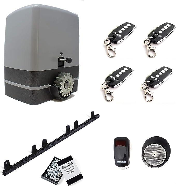 Kit completo motor puerta corredera CARRERA 800KG con 4 metros de cremallera de nylon con tornillos + 4 mandos a distancia TX4 + sensor de reflexión.: Amazon.es: Bricolaje y herramientas
