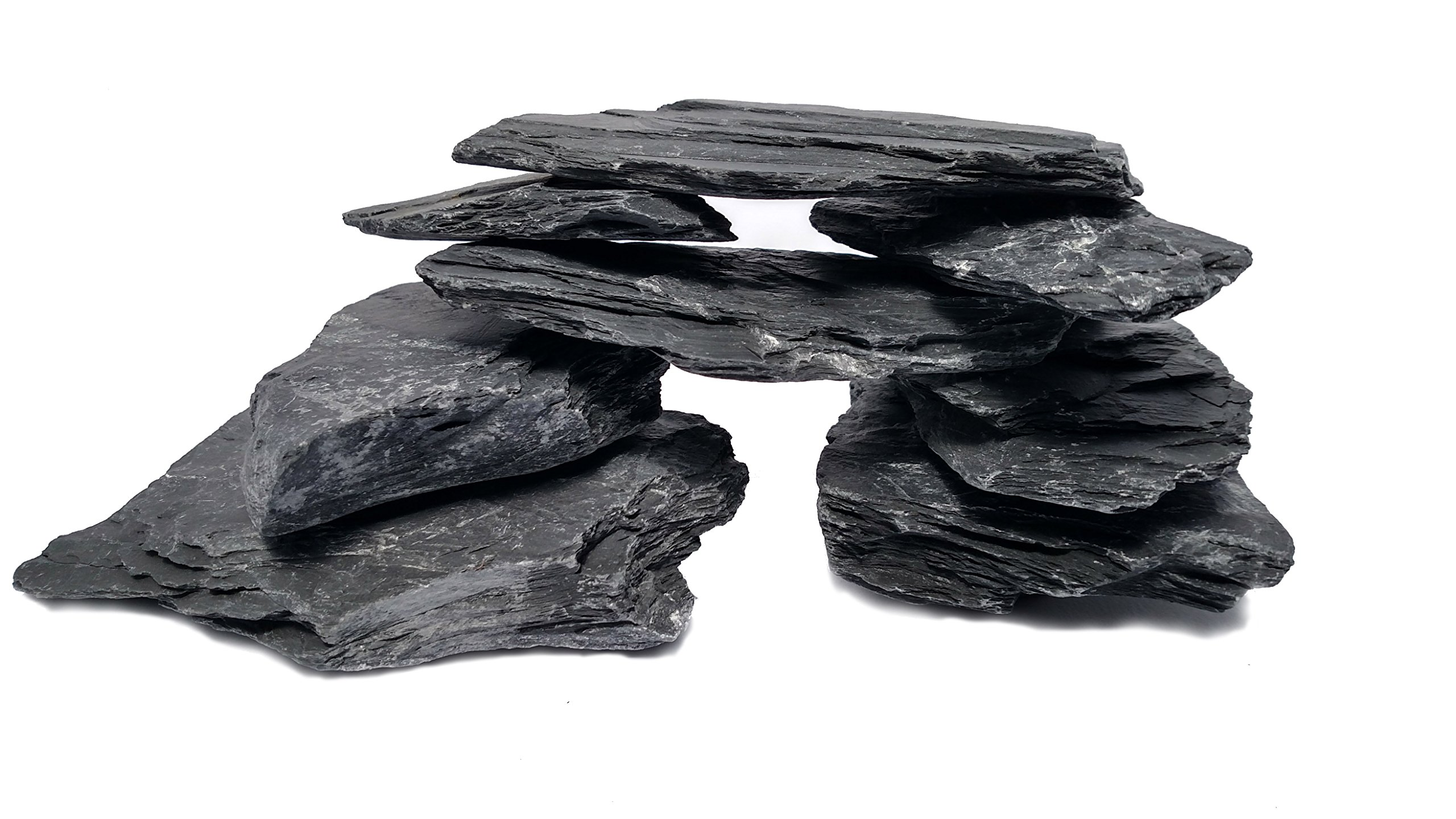 Natural Slate - Large 5 To 7 Inch Stones. PH Neutral. Perfect for Aquascaping and Igwami Aquariums, Reptile and Amphibian Enclosures, Stone Carving and Crafts (10 lbs) by Small World Slate and Stone