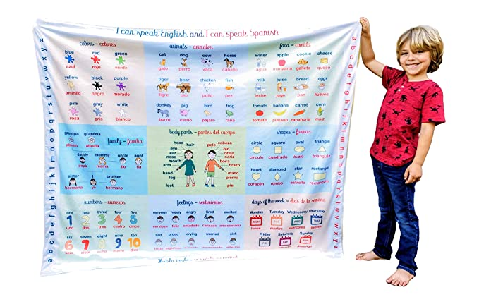 English/Spanish learning blanket from Birdy Boutique