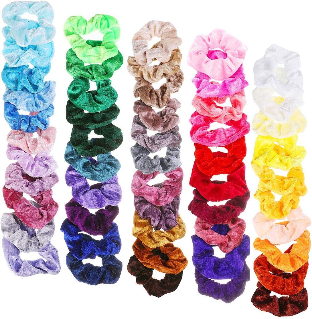 NASUM Banda para el Cabello de Terciopel con Goma Elástica (52 Colores), Adecuada para Cola de Caballo, Accesorios para el Cabello Femenino