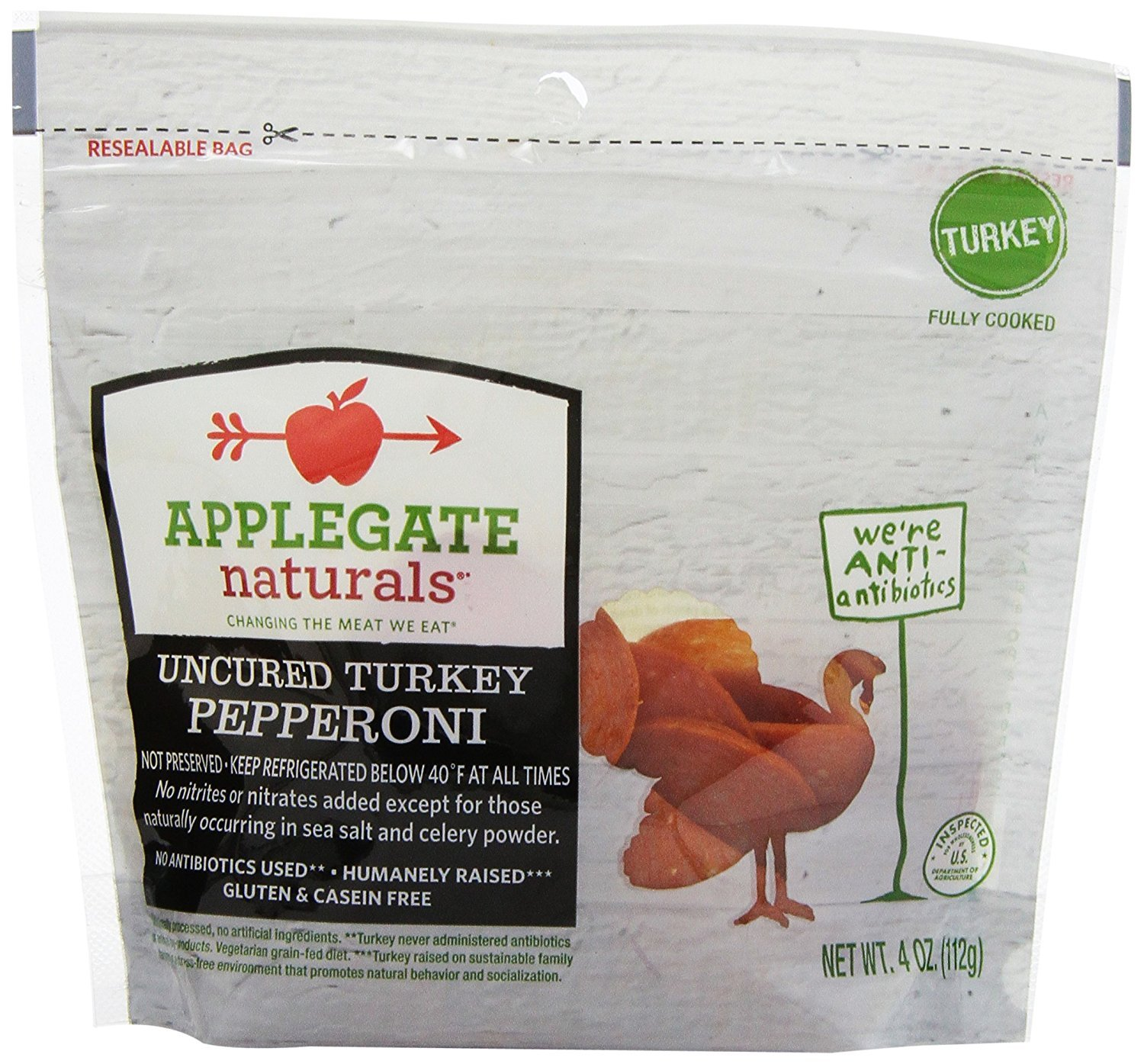 Applegate Naturals Uncured Turkey Pepperoni, 4 Ounce (Pack of 12)