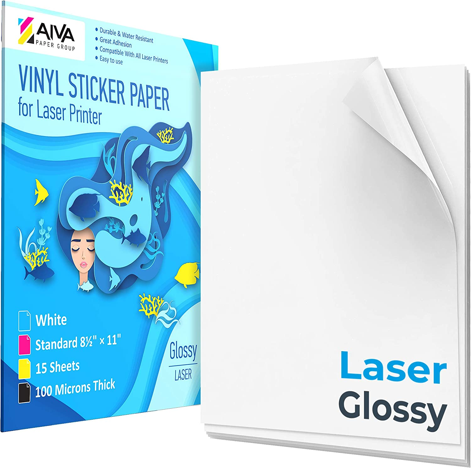 """Printable Vinyl Sticker Paper for Laser Printer - Glossy White - 15 Self-Adhesive Sheets - Waterproof Decal Paper - Standard Letter Size 8.5""""x11"""""""