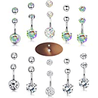 Milacolato 10PCS 14G Stainless Steel Belly Button Rings for Womens Girls Navel Rings Crystal CZ Ball Body Piercing 10pcs Replacement Balls