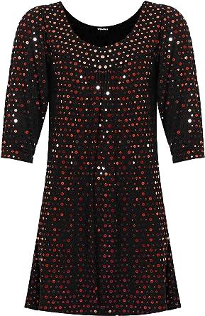 34b7a70b501 WearAll Women s Plus Long Sleeve Sequin Spot Party Top Polka Dot ...