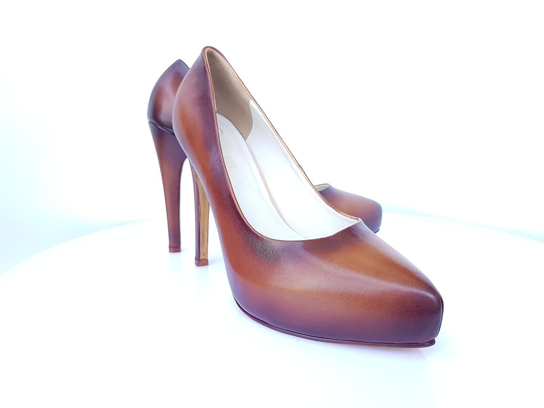 3bcf672d217d8 Amazon.com: High Heels 12cm DECUS Shoes Patina Light Brown Beautiful ...
