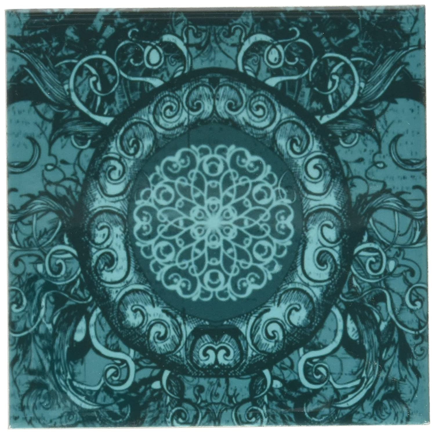 Set of 4 3dRose cst/_78442/_3 Renaissance Inspired Oval Design in Turquoise Ceramic Tile Coasters