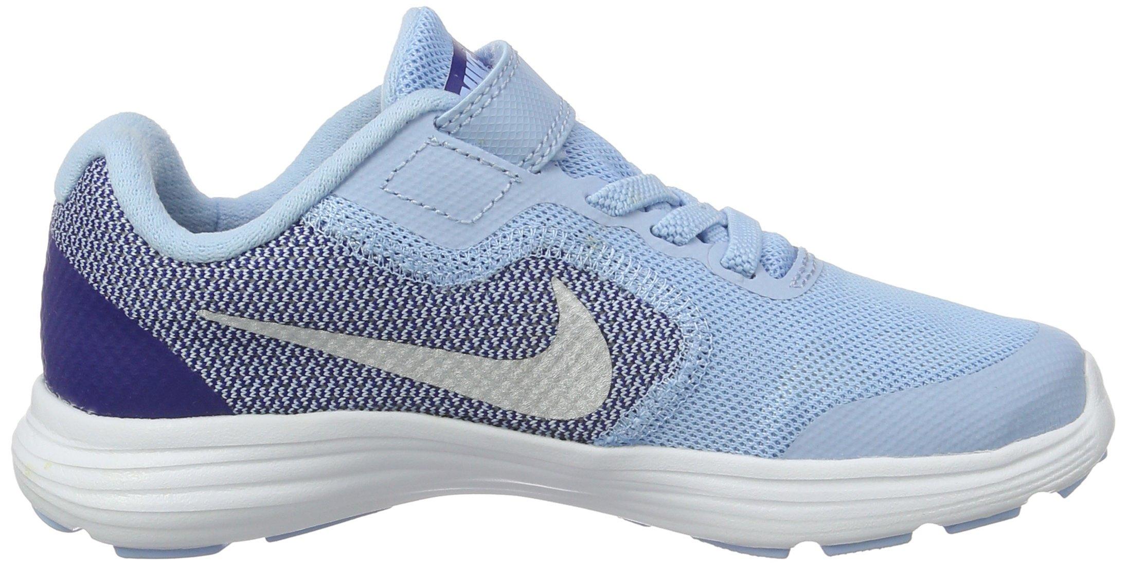 NIKE Kids' Revolution 3 (Psv) Running-Shoes, Bluecap/Metallic Silver/Deep Royal Blue, 1 M US Little Kid by Nike (Image #6)