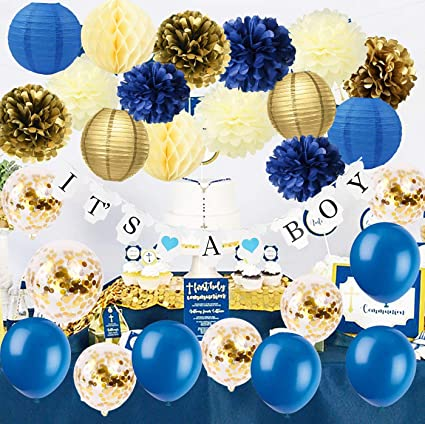 a84887be1da42 Furuix Royal Prince Baby Shower Decorations Navy Cream Gold Bridal Shower  Decorations Gold Confetti Ballons Tissue