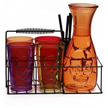 Circleware 76989 Skullology Drinking Glasses and Pitcher Set of 10, 38 oz Orange Carafe, 4-16 oz Assorted Color Tumbler Cups, 4 Straws and Holder, Halloween Decorations Beverage