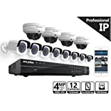 LaView 4MP (2688 x 1520) 16 Channel PoE 4K NVR HDMI - 12 Camera Security Camera System with 8, 4MP Bullet and 4, 4MP Dome IP Surveillance Cameras, 100ft Night Vision, 3TB HDD.