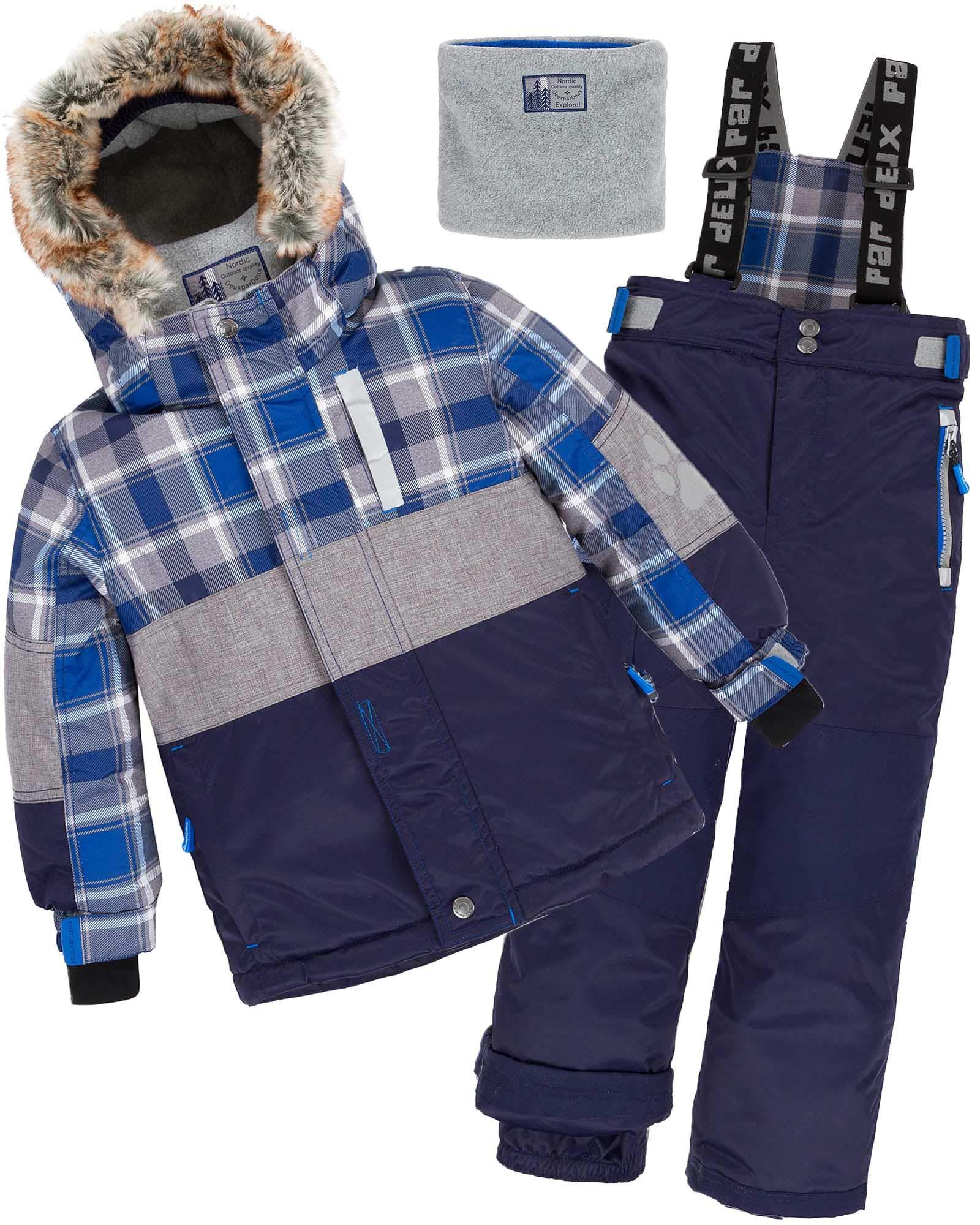 Deux par Deux Boys' 2-Piece Snowsuit Forest Runner Navy, Sizes 5-14 - 12