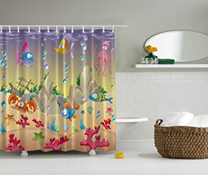 Ambesonne Kids Shower Curtain By Cartoon Sea Animals Orange Crabs Family Decor Beach Blue Stars