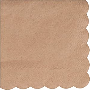 Kraft Scalloped Edge Paper Napkins (5 x 5 In, Brown, 100 Pack)