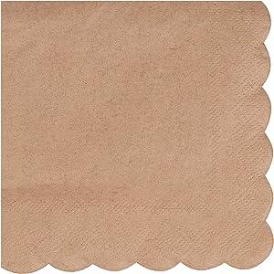 Kraft Scalloped Edge Paper Napkins (5 x 5 In, Brown, 100 Pack)