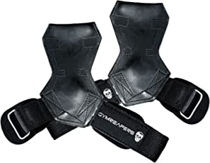 Gymreapers Weight Lifting Grips (Pair) for Heavy Powerlifting, Deadlifts, Rows, Pull Ups, with Neoprene Padded Wrist Wraps Support and Strong Rubber Gloves or Straps for Bodybuilding 100%