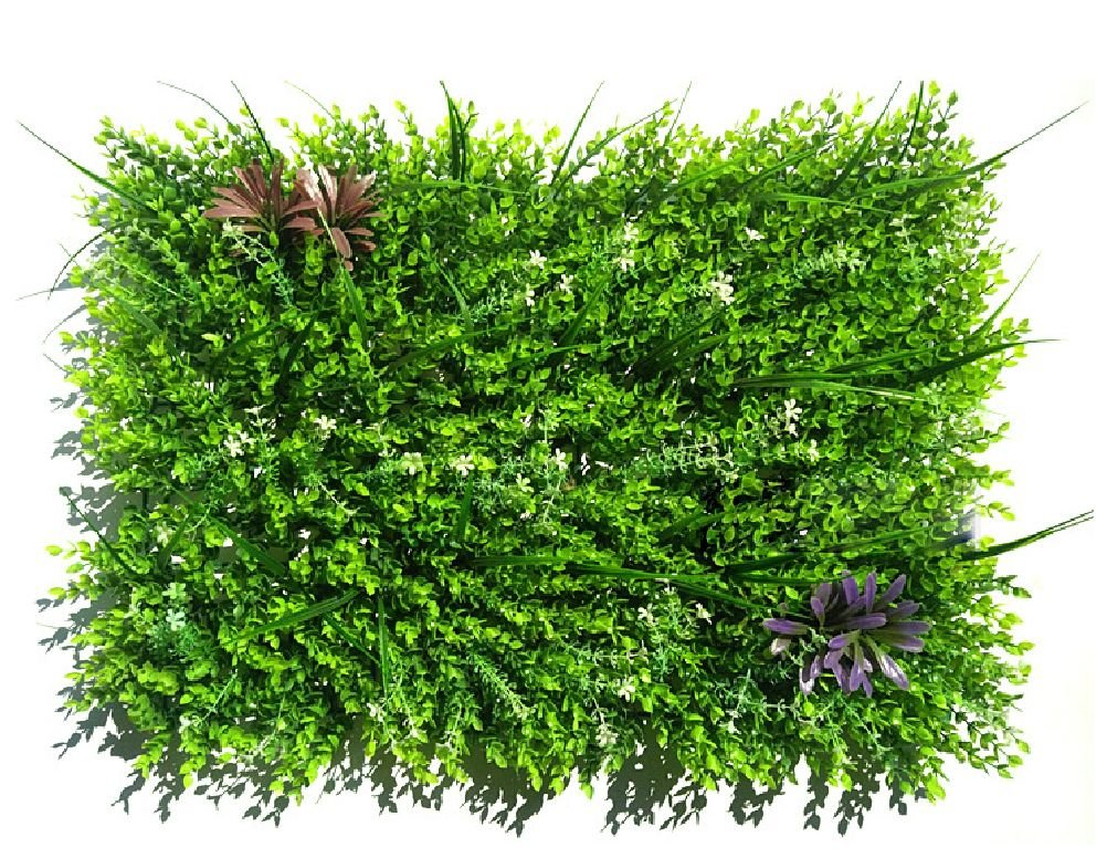 50Pcs Plastic Artificial Mat Fake Grass Rug Lawn Mat Turf Foliage Realistic outdoor home decor Big Eucalyptus(15.75 in X 23.63 in)