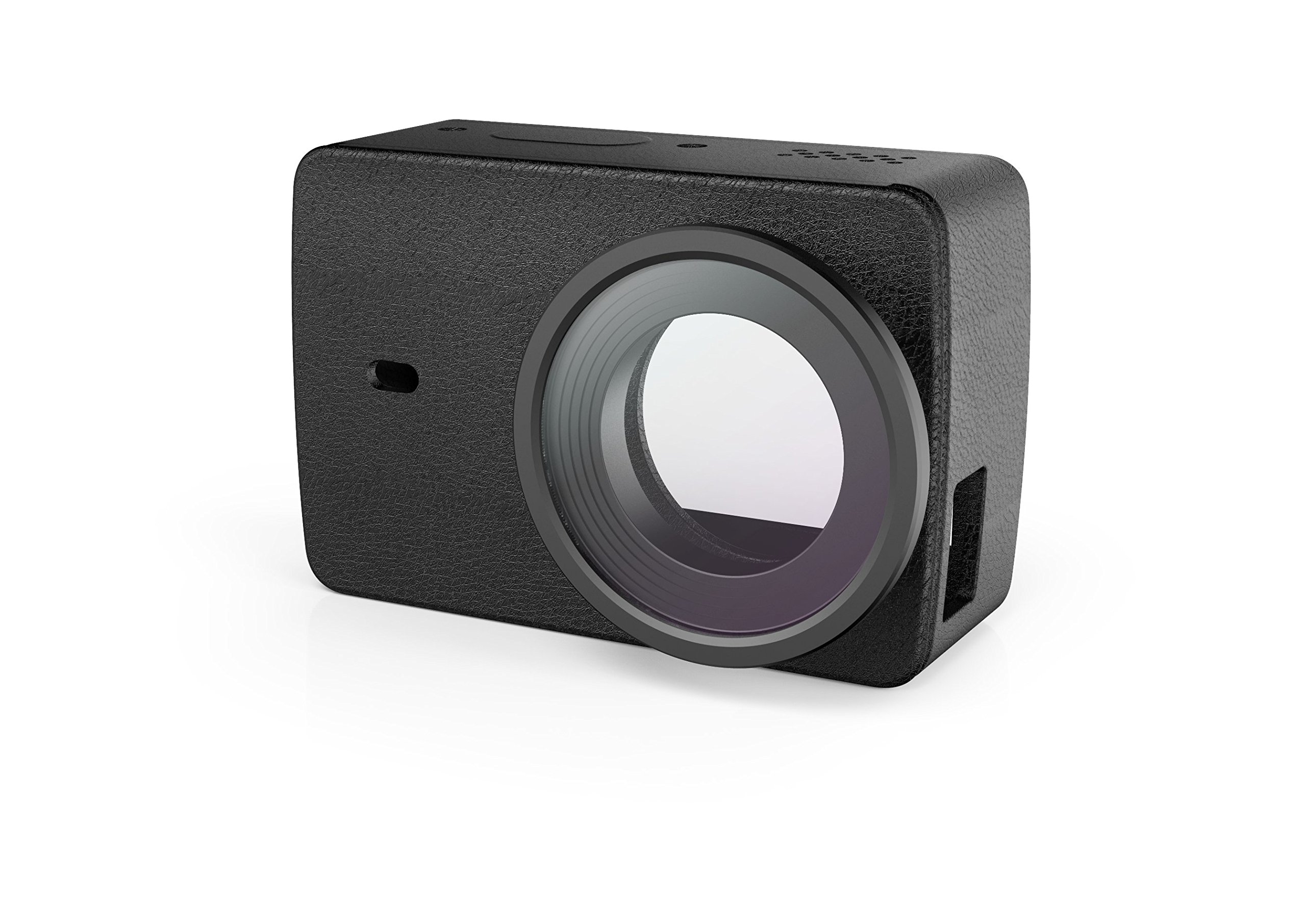 YI 4K Action Camera Protective Lens + Leather Case Black by YI