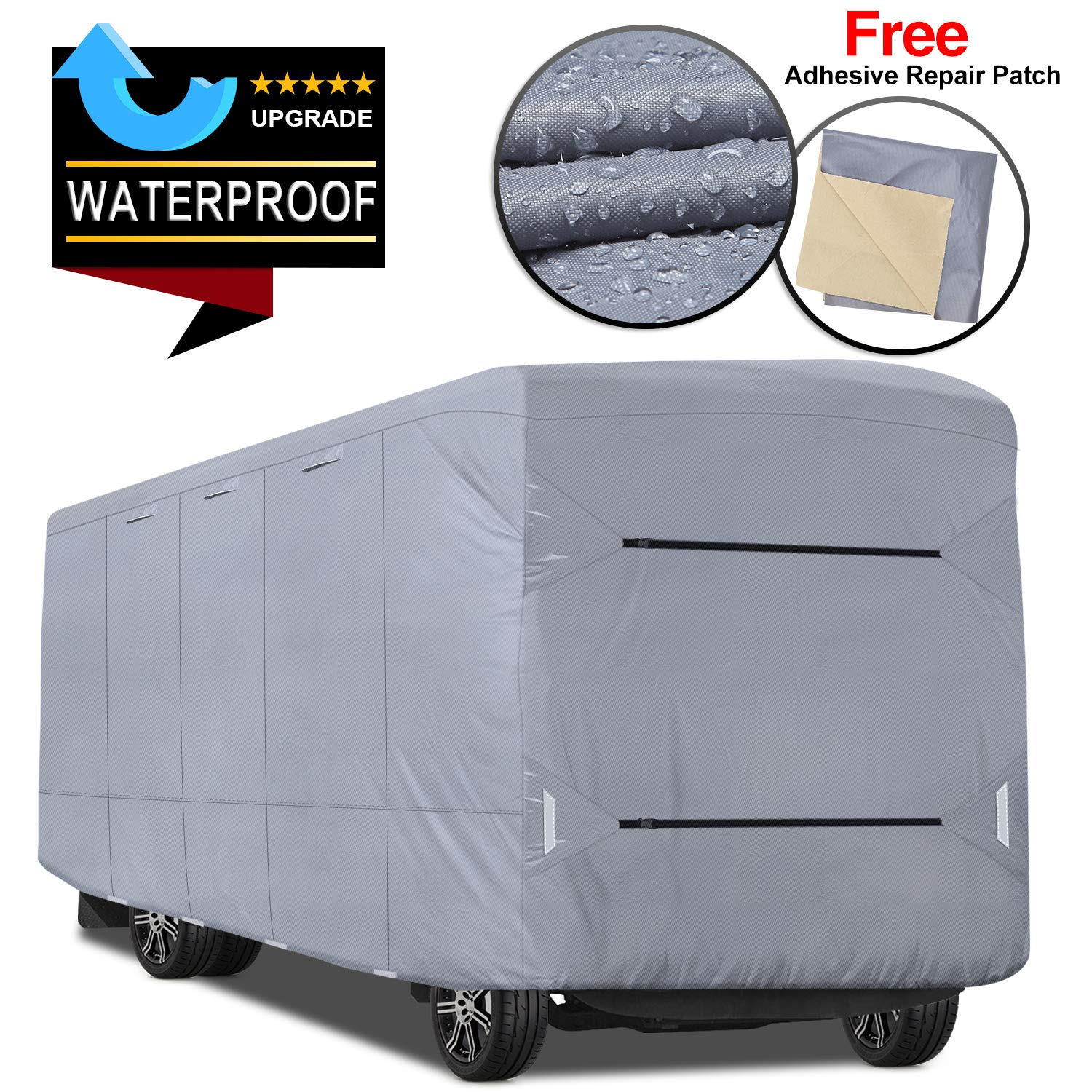 RVMasking Upgraded Waterproof Class A RV Cover, Fits 31'1'' - 34' RVs - Easy Installaiton Anti-UV Ripstop Camper Cover with Adhesive Repair Patch by RVMasking