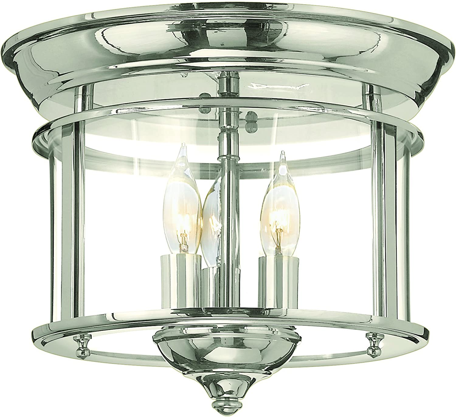Nckl.finish Hinkley Lighting Hinkley 3473PN Traditional Three Light Flush Mount from Gentry collection in Chrome Pol