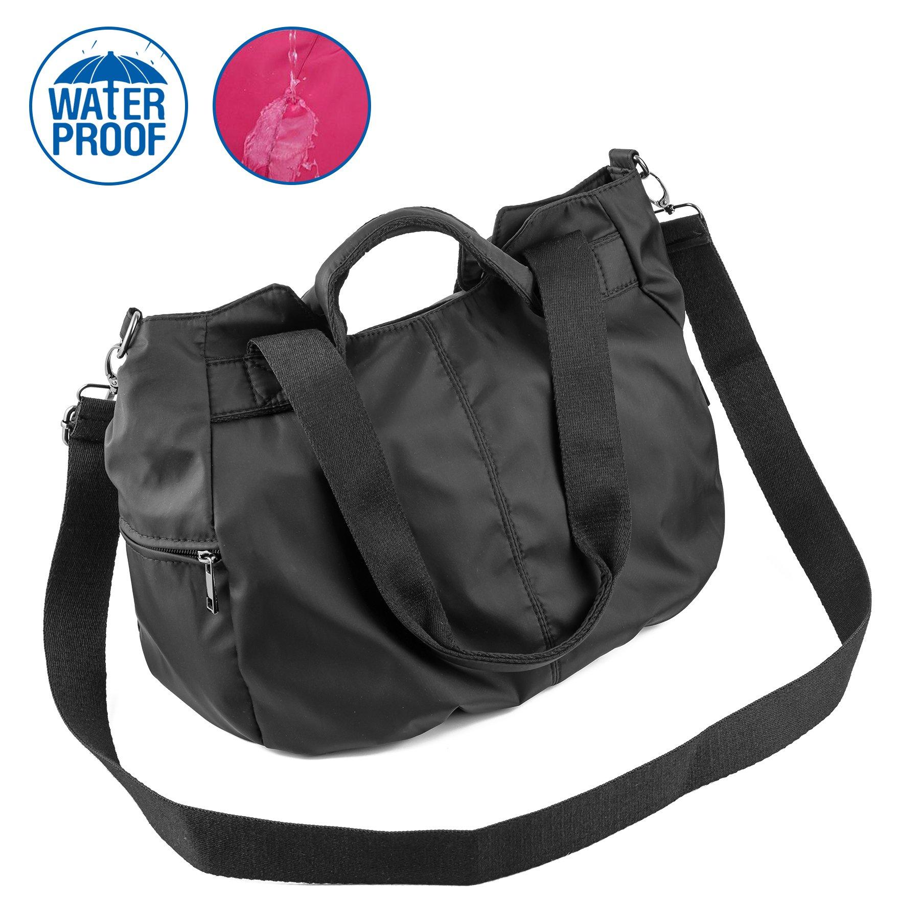 ZORESS Women Fashion Large Tote Shoulder Handbag Waterproof Multi-function Nylon Travel Crossbody Bags (Black)