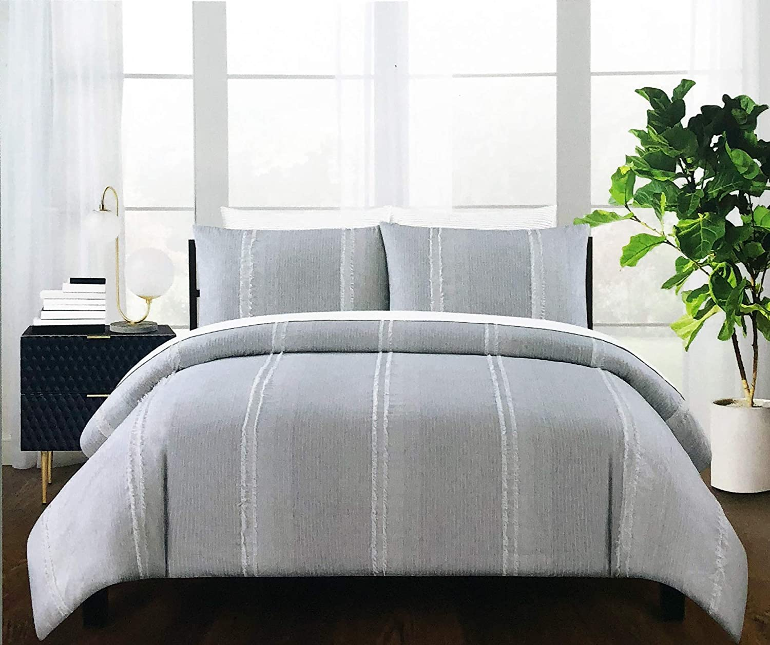 Elements Bedding Full/Queen Size Cotton Duvet Comforter Cover Set Shams Thin Gray White Vertical Stripes with Wider Textured Tufted Stripes Pattern Boho Shabby Chic Frayed Stripes Design