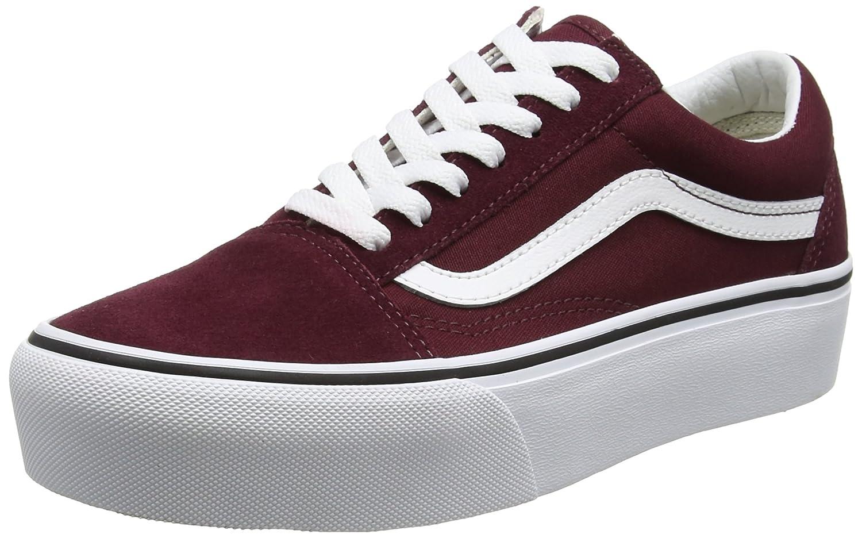 Vans Old Skool Platform, Zapatillas de Entrenamiento para Mujer 42.5 EU|Rojo (Port Royale/True White)
