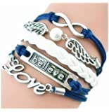 SheClub® Wax Rope Braided Blue Bracelet, Fashion Infinity Angel Wings Love/ Believe/ Charm Bracelet with White Bead Wax Cord Rope Bracelets