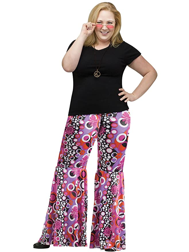 70s Costumes: Disco Costumes, Hippie Outfits Fun World Plus Size Adult Plus Size Flower Child Bell Bottoms Costume $29.98 AT vintagedancer.com