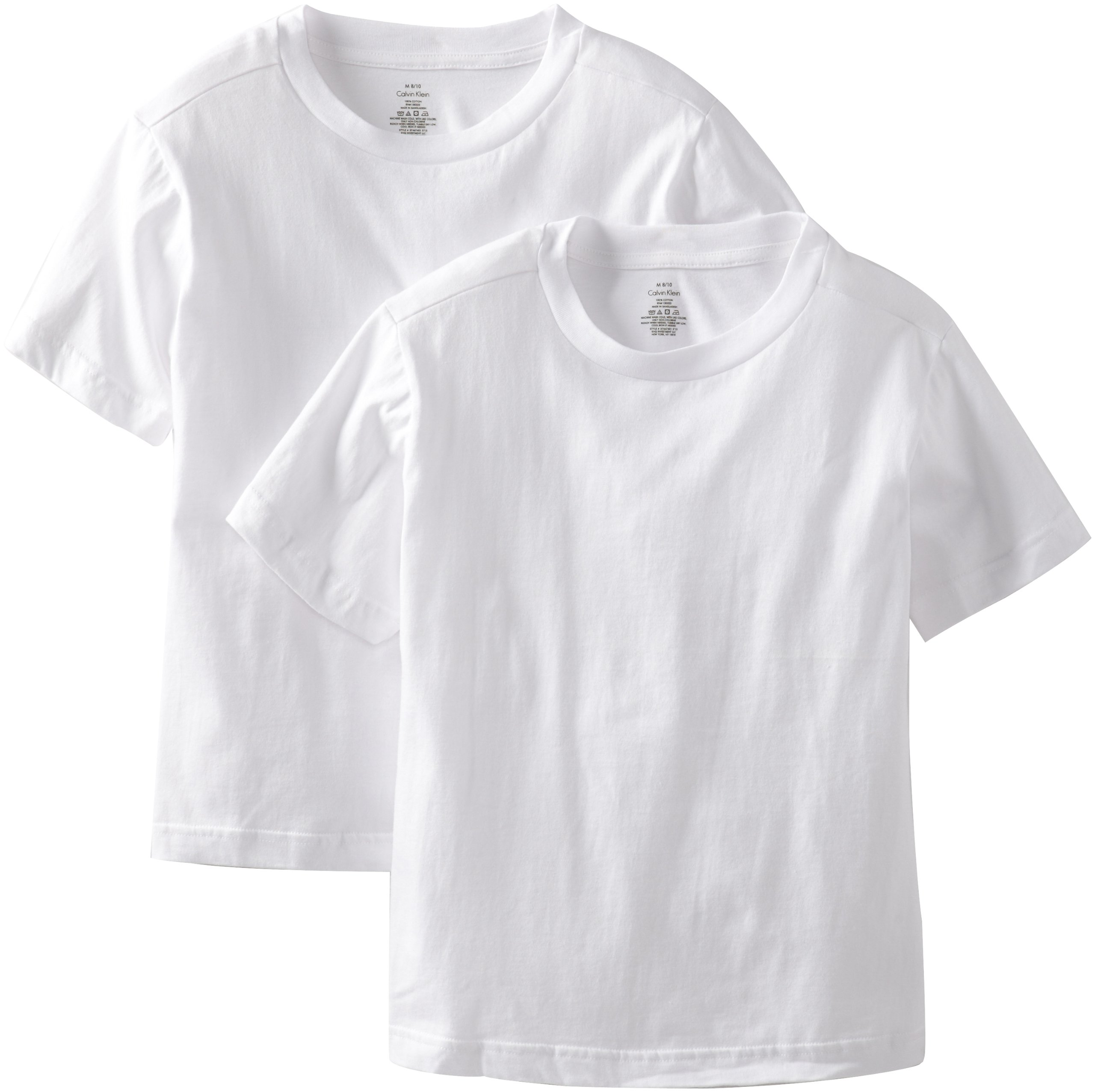Calvin Klein Big Boys' 2 Pack Undershirts, White, X-Large