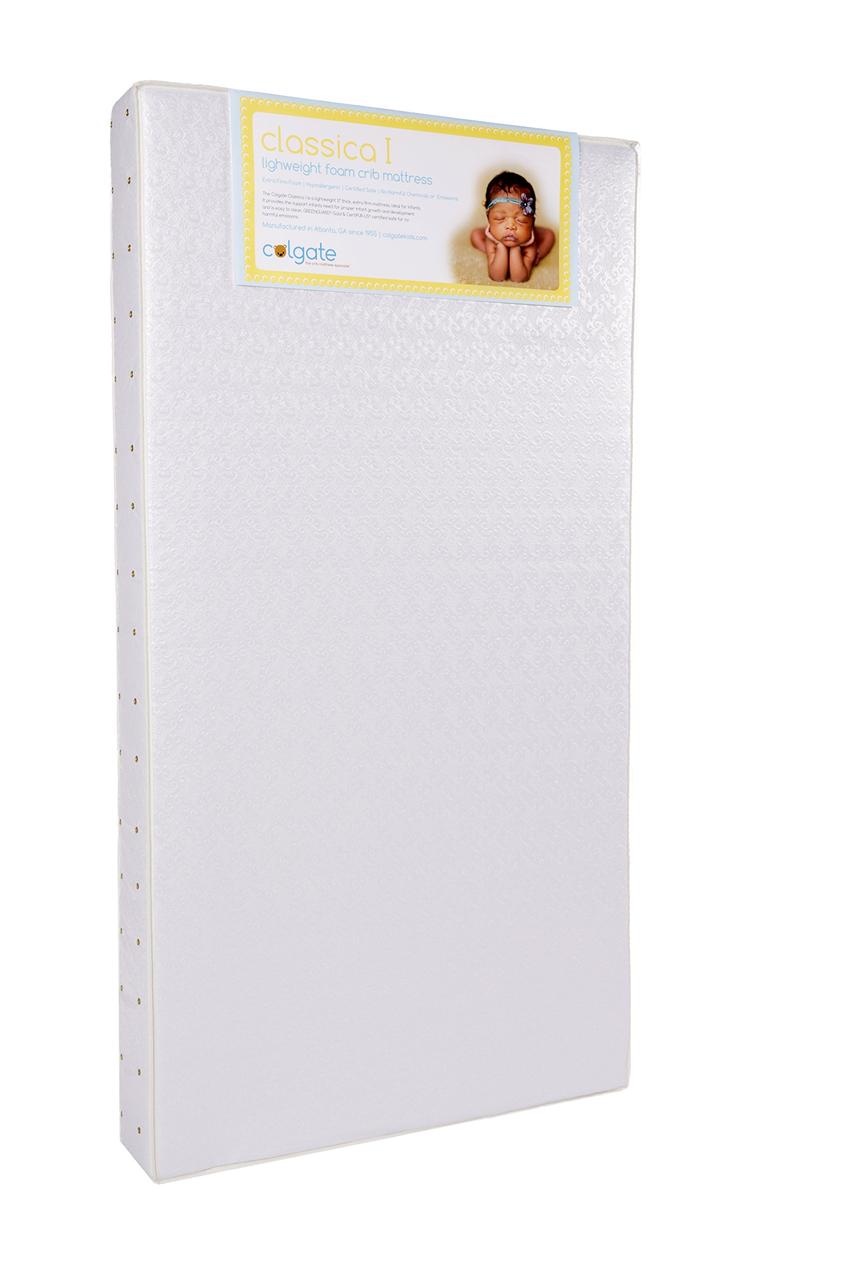Colgate Classica I - Lightweight Foam Crib Mattress with Waterproof Cover, White