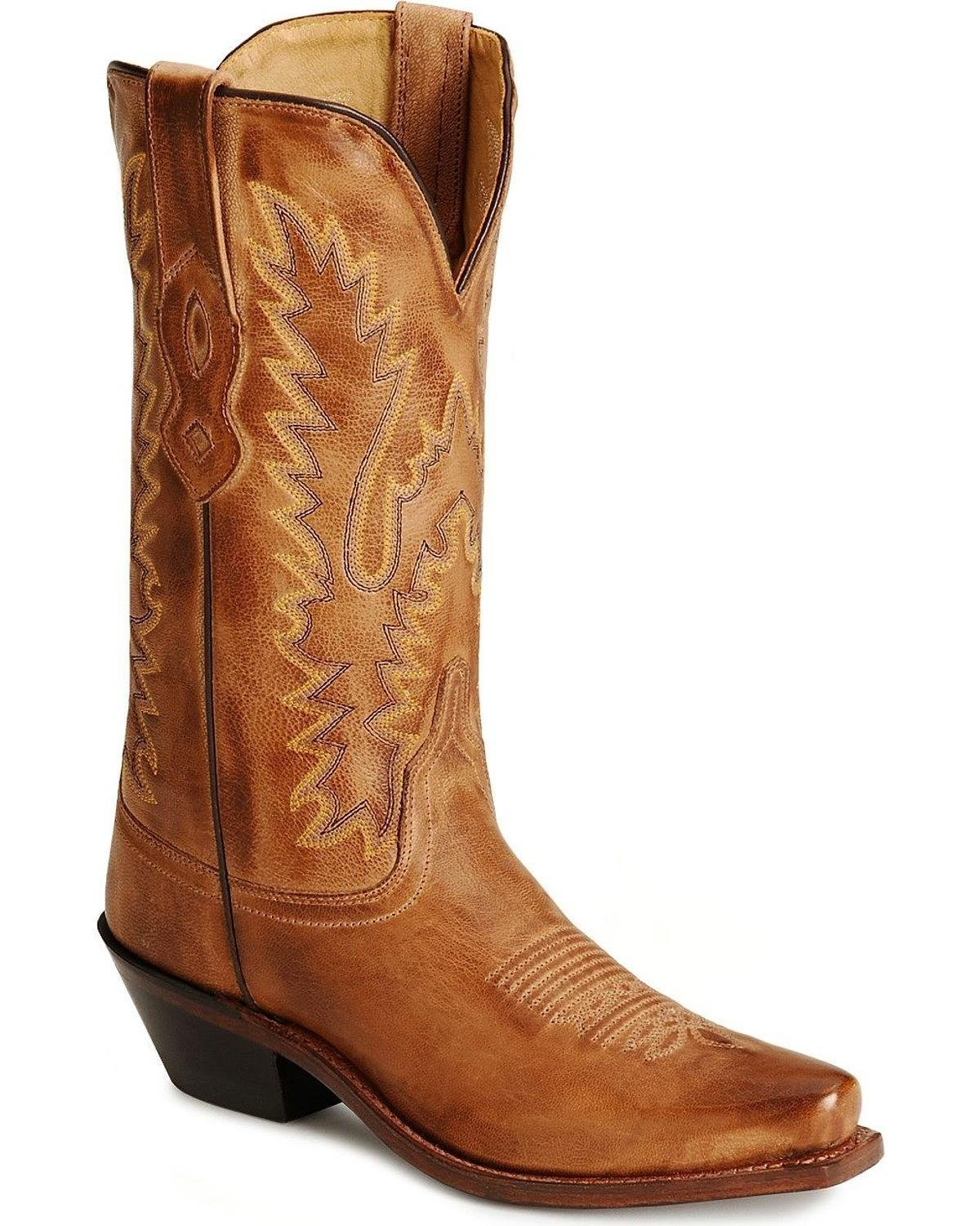 Old West Ladies Leather Fashion Cowgirl Boots B005OO266S 8.5 B(M) US|Tan