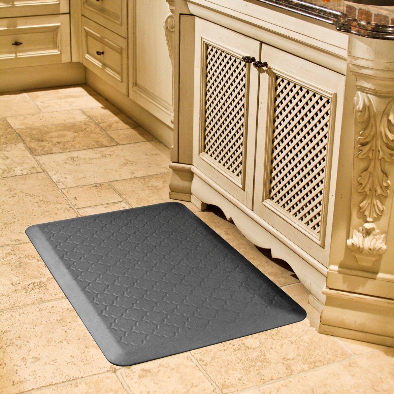 WellnessMats Anti-Fatigue Trellis Motif Kitchen Mat, 36 Inch by 24 Inch, Grey by WellnessMats (Image #2)