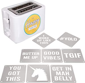2-Slot Impression Toaster with 8 Interchangable Happy Morning Novelty Design Plates - Make Breakfast Happy! Fun Gift
