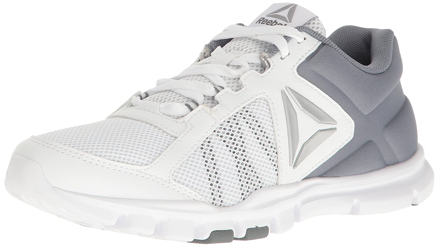 Reebok Women's Yourflex Trainette 9.0 MT Cross-Trainer Shoe B06XWLB8NY 12 B(M) US|White/Asteroid Dust/Silver Met/Grey