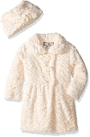 15914fcc8b20 Amazon.com  Widgeon Little Girls  3 Bow Faux Fur Coat with Hat  Clothing