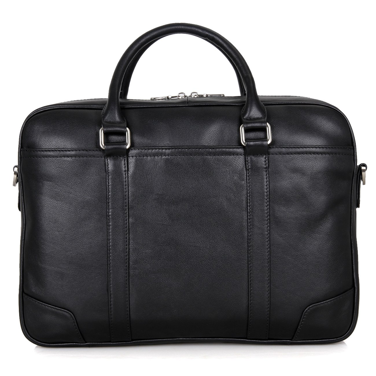 Texbo Genuine Top Cow Leather Business Briefcase Fit 15.6'' Laptop Bag Tote (Black)