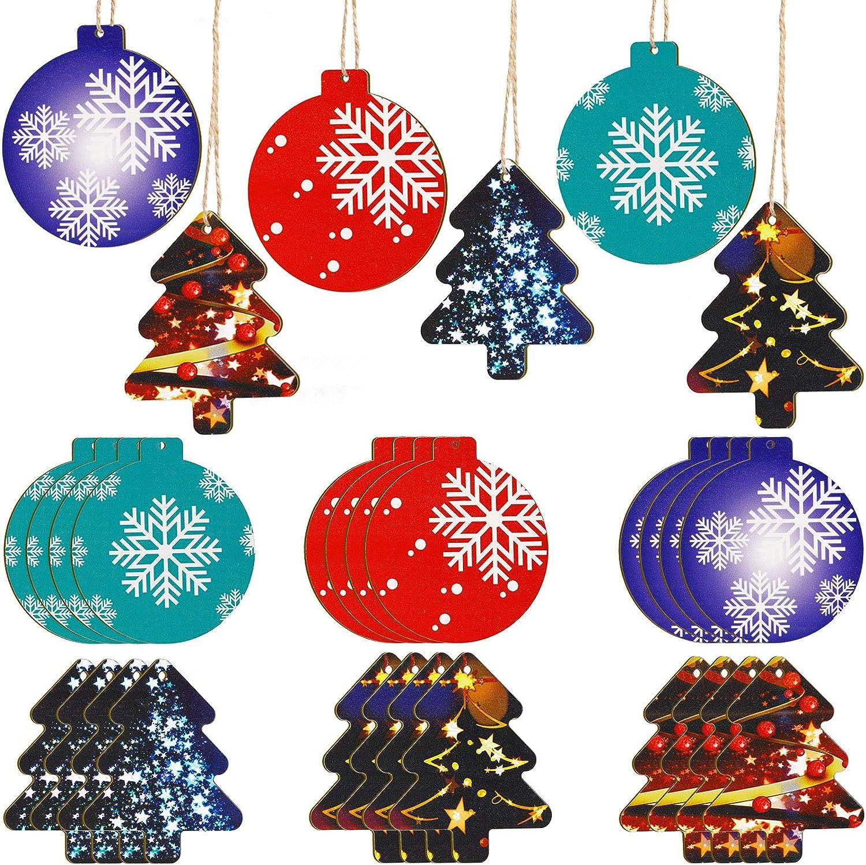 10 Pcs Mini White Snowflakes Hanging Christmas Tree Ornaments Wooden Home Decor