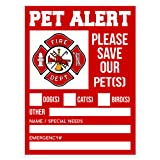 "Pet Alert Fire Rescue Sticker - 5""x 4"" Double Sided (2 Pack) - Save Our Pets Emergency Pets Inside Decal - Danger Pet In House - Protect Dogs Cats Birds - Apply Either Outside or Inside Facing"