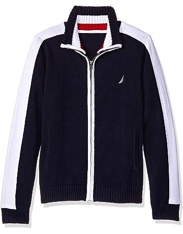 e7da8b43cadc5f Nautica Boys' Textured Block Stripe Full Zip Sweater
