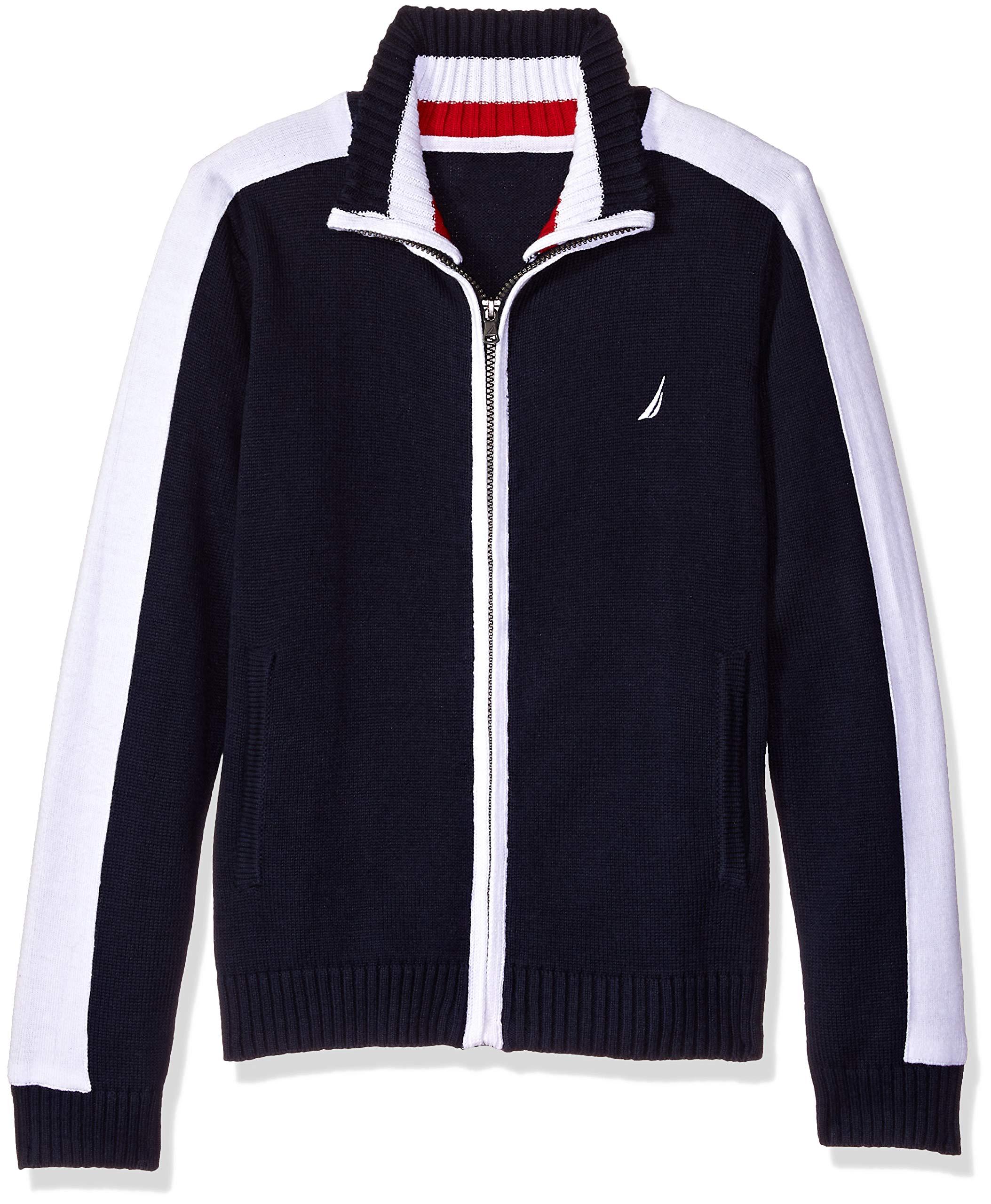 Nautica Boys' Little Textured Block Stripe Full Zip Sweater, Yawl Sport Navy 5